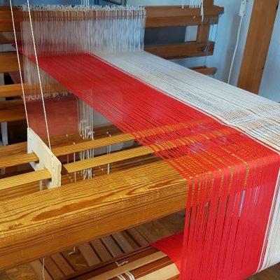 Kette in Rot - Natur in Bio-Baumwolle